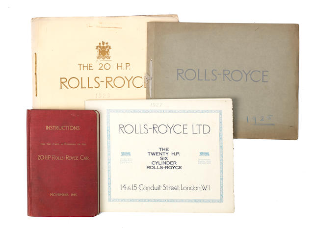 1920s Rolls-Royce sale brochures and an Instruction Book,   ((5))