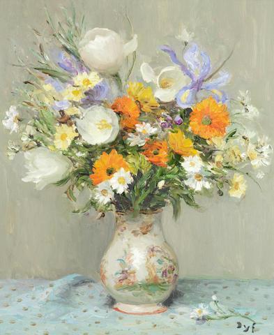 Marcel Dyf (1899-1985) Tulipes et iris (Painted in 1979)
