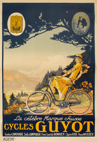A Cycles Guyot advertising poster, Swiss late 1920s,
