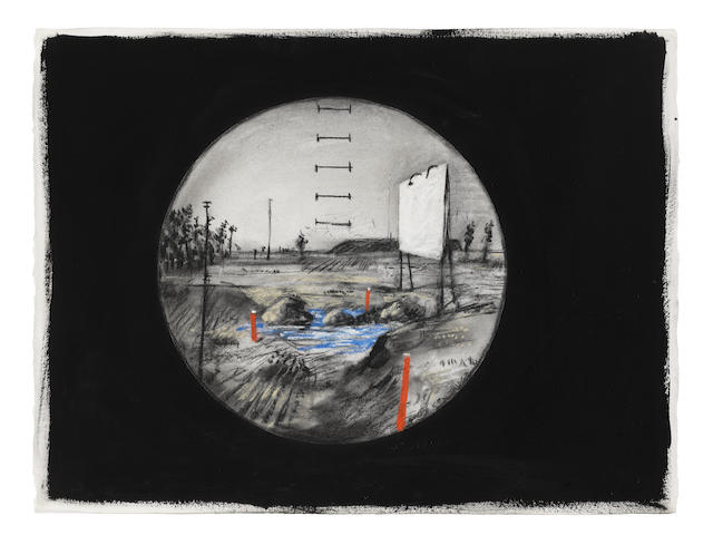 William Kentridge (South African, born 1955) Drive-in (drawing for 'Felix in Exile')