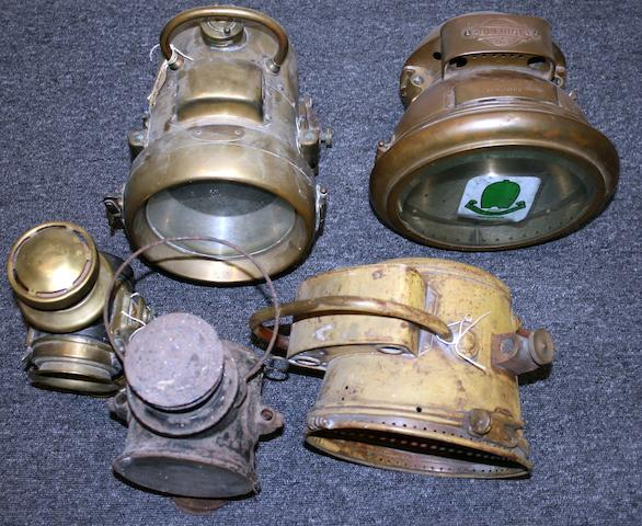 Two brass acetylene headlamps,  ((5))