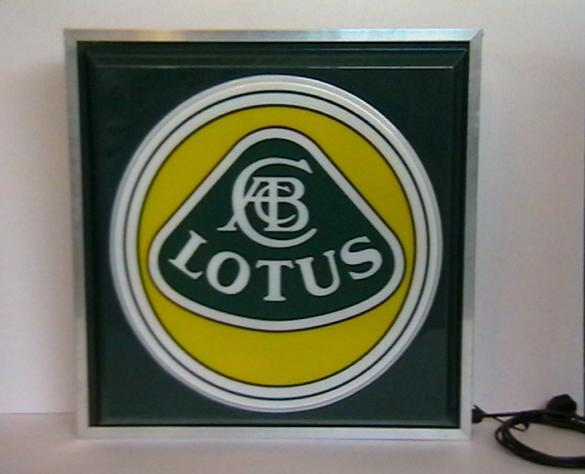 A 'Lotus' illuminating garage display sign,