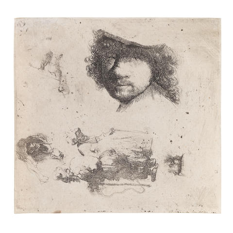 Rembrandt Harmensz. van Rijn (Dutch, 1606-1669) Sheet of Studies: Head of the Artist, a Beggar Couple, Heads of an Old Man and Old Woman Etching, 1632, on laid paper, without watermark, a very good impression of New Hollstein's second, final state, with thread margins, some cockling to the upper sheet, otherwise in good condition Plate 100 x 105mm. (3 3/4 x 4 1/8in.); Sheet 102 x 107mm. (4 x 4 2/8in.)