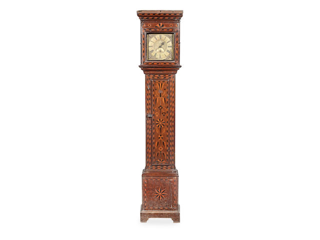A George II documented joined oak-case and inlaid thirty-hour longcase clock, Llanfair, Caereinion, dated 1755 The dial signed Sam. Roberts Llanvair and numbered '104'