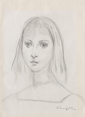 LÉONARD TSUGUHARU FOUJITA (1886-1968) Portrait de jeune fille