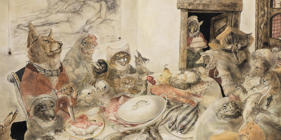 LÉONARD TSUGUHARU FOUJITA (1886-1968) La fête d'anniversaire 76.5 x 101.7cm (30 1/8 x 40 1/16in); 91.6 x 116.5cm (36 1/16 x 45 7/8in) (with the artist's frame) (Painted in New York in June 1949)