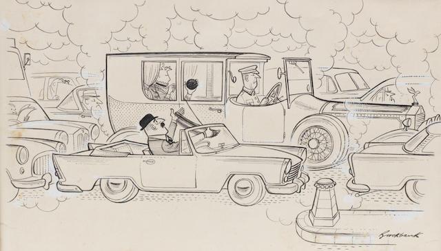 Russell Brockbank (1913-1979), 'A Long Yarn', a motoring cartoon,   ((3))
