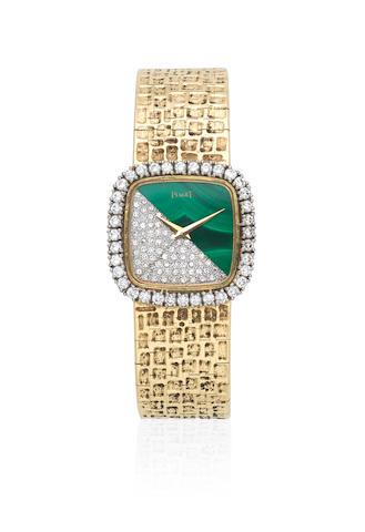 Piaget. A lady's 18K gold, diamond and malachite manual wind bracelet watch Circa 1980