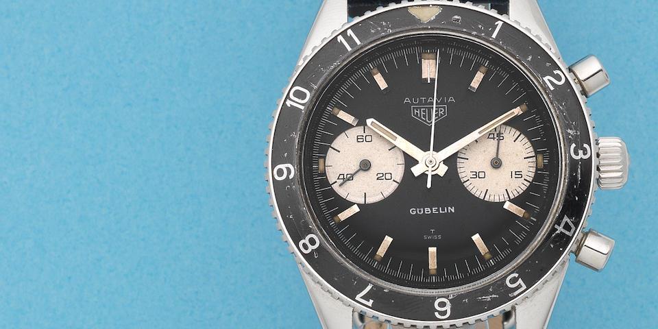 Heuer. A stainless steel manual wind chronograph wristwatch Retailed by Gübelin  Autavia, Ref: 3646, Circa 1969