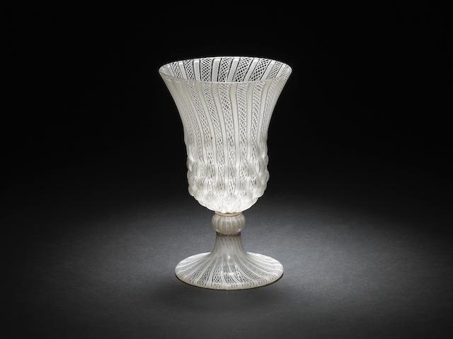 A fine façon de Venise latticinio goblet, late 16th or early 17th century