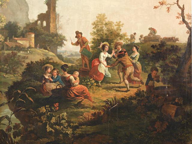 French School, circa 1800 Elegant figures before a river, a bridge beyond; An Italianate landscape with figures dancing; and An Italianate landscape with figures entertaining a parson (three of a set) ((3))