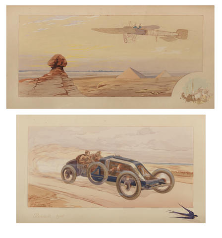 Two framed lithographic prints including 'Renault 1908' after Ernest Montaut (Gamy),   ((2))