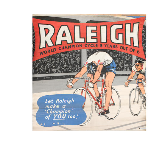 A large Raleigh Cycles 'Reg Harris' World Champion Cycles poster, circa 1957,   ((Qty))