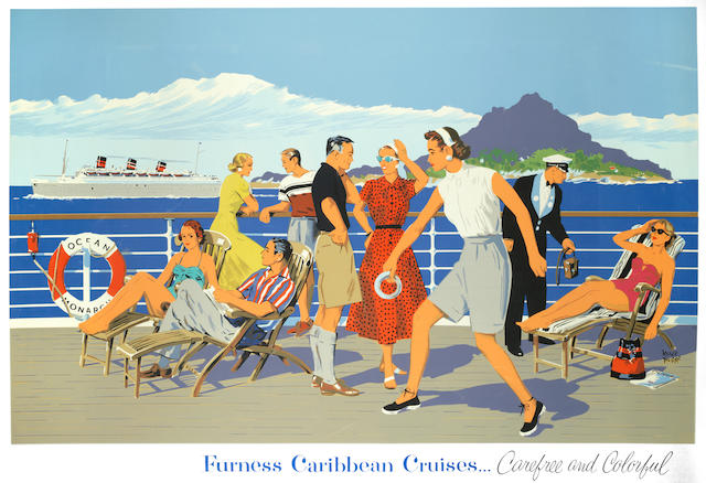 ADOLPH TREIDLER (1886-1981) FURNESS CARIBBEAN CRUISES, Carefree and Colorful