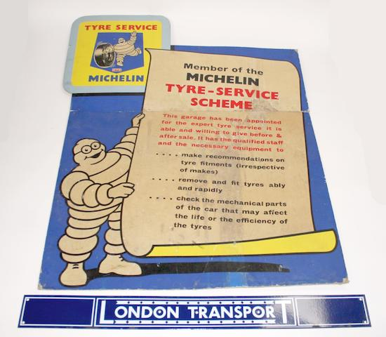 A 1965 Michelin Tyre Service Advertising sign,    ((2))