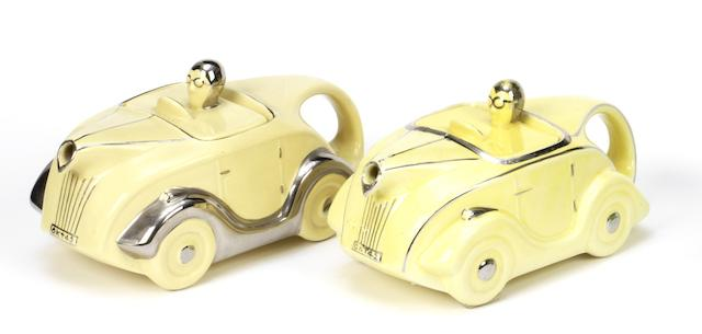 Two Sadler 'OKT42' motorcar teapots, British, 1930s,  ((2))