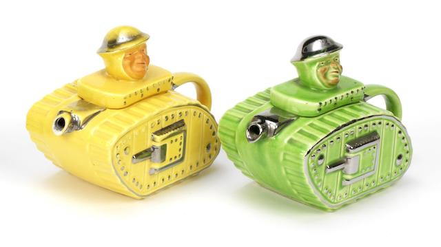 Two Sadler Tank teapots, British, 1930s,   ((2))