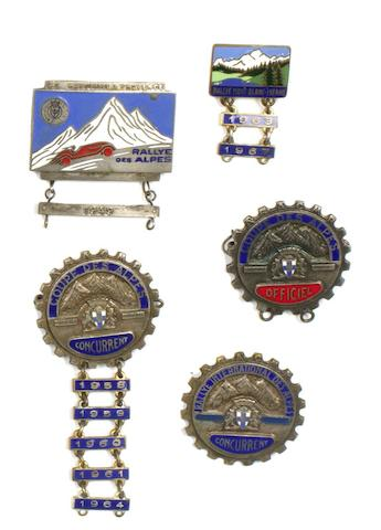 Five mountain rally enamel lapel badges,  ((5) )
