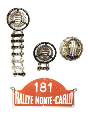 Two Monte-Carlo Rallye enamel lapel badges,