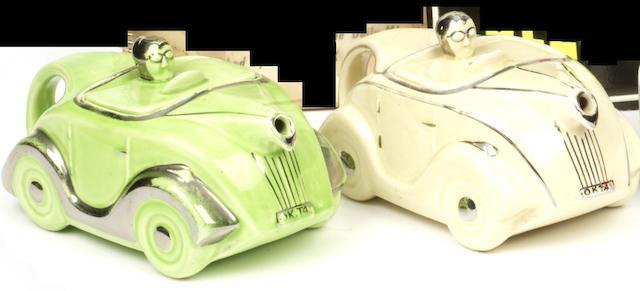 Two OKT 42 Sadlerware glazed ceramic teapots, British 1937-39,   ((2))