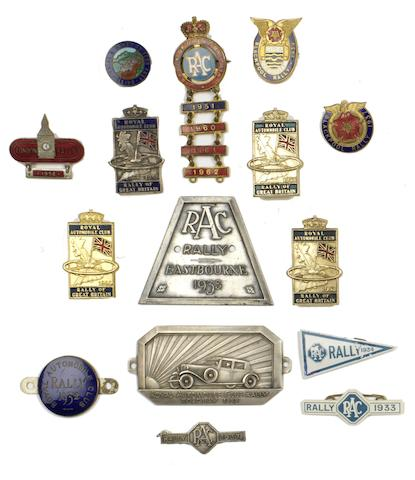 Fifteen assorted British Rally plaques and lapel badges,  ((Qty))