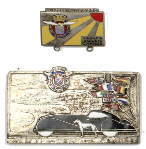 An Automobile Club du Cannes 'Rallye Soleil Cannes' competitor's plaque,   ((2))