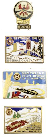 Four Automobile Club Torino 'Rallye del Sestriere' enamel plaques and a badge, 1950s,  ((4))