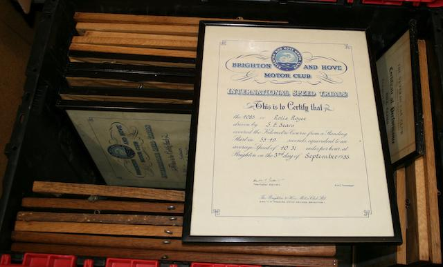 Assorted motoring club certificates awarded to Stanley Sears at post-War club meetings and events  ((22))