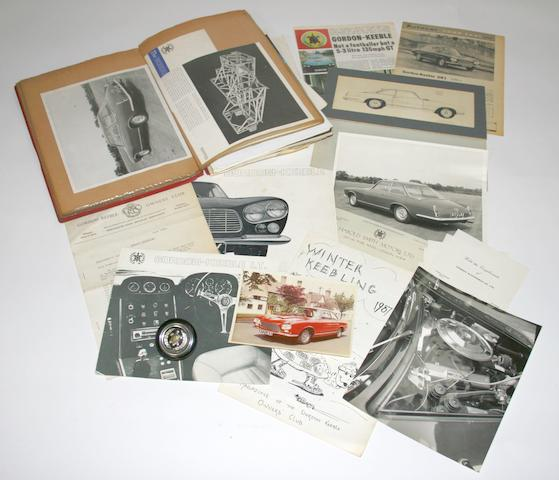 A folder of Gordon-Keeble photographs and ephemera and a horn-push,   ((Qty))