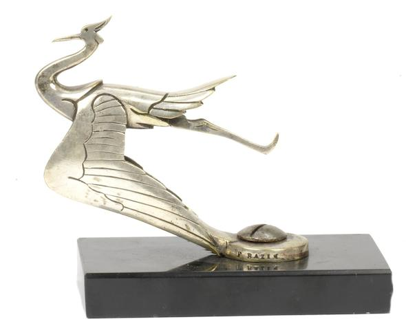 An Art Deco 'Cygne Sauvage' mascot by Frederick Bazin, French, circa 1925,