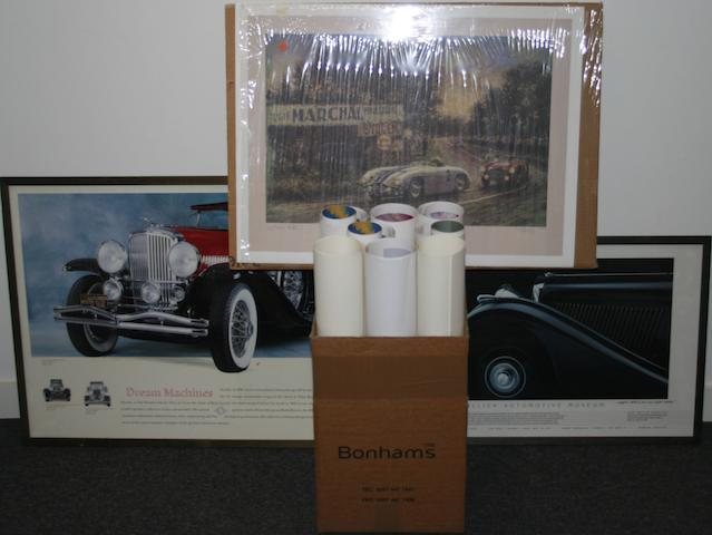 Assorted motoring prints and posters,   ((Qty))