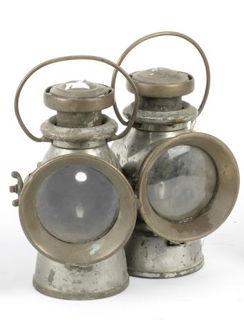 A pair of Lucas 723 oil illuminated head/side lamps, circa 1925,  ((2))
