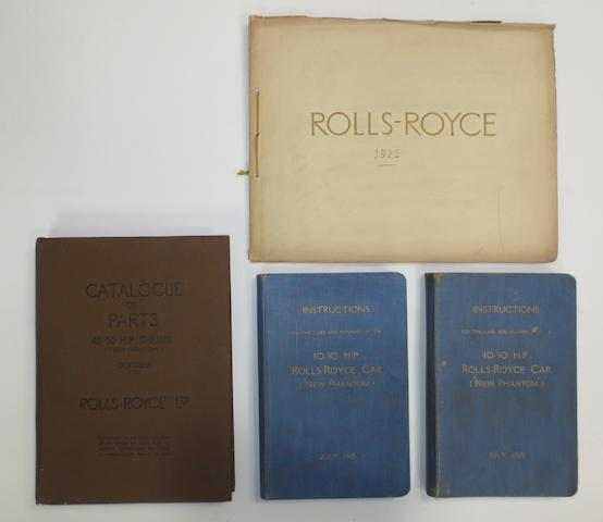 "A sales brochure, Catalogue of Parts and two Instruction Books for 40-50Hp Rolls-Royce ""New Phantom"",   ((4))"