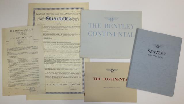 Bentley Continental sales literature and ephemera,   ((5))