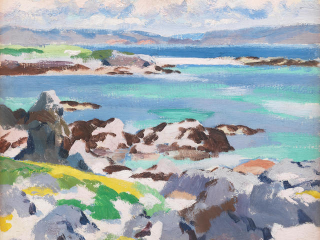 Francis Campbell Boileau Cadell RSA RSW (British, 1883-1937) Spring, Iona 37 x 44.7 cm. (14 1/2 x 17 1/2 in.)