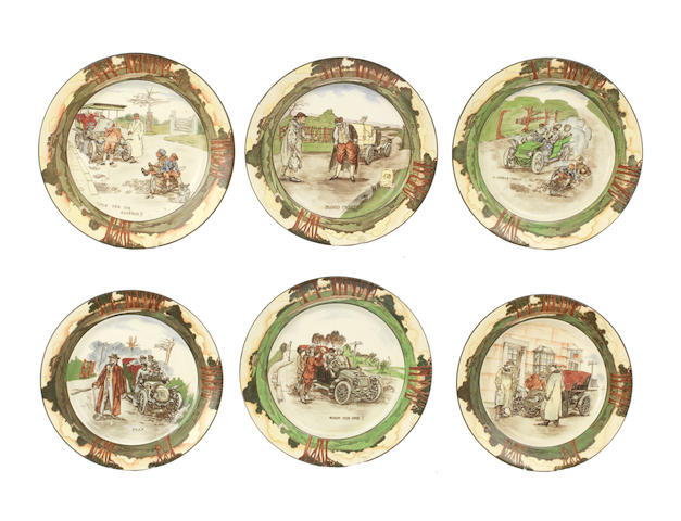 A set of six Royal Doulton 'Series Ware' motoring themed plates by George Holdcroft, circa 1906,   ((6))
