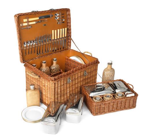 A wicker-cased picnic set for six persons by Fortnum & Mason of Piccadilly, circa 1912,