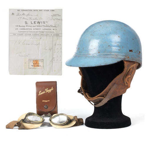A 1934 S.Lewis crash helmet and goggles, used racing Bugattis,   ((Qty))