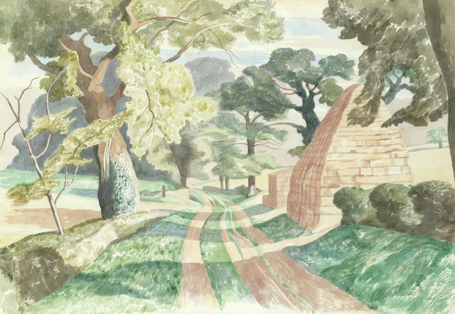 John Northcote Nash R.A. (British, 1893-1977) Llanmadoc, Gower  (Please note that this lot is offered with copies of correspondence between the Artist and the family of the present owner relating to its purchase.)