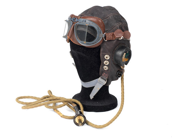 A WWII Royal Air Force leather flying helmet and goggles,   ((3))
