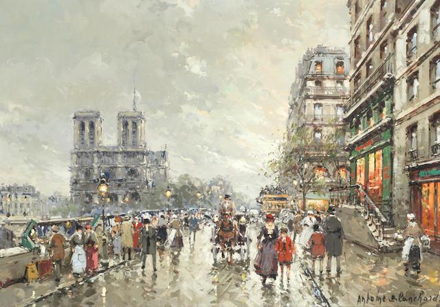 Antoine Blanchard (French, 1910-1988) 'Notre Dame, les quais et les bouquinistes, Paris en 1900'