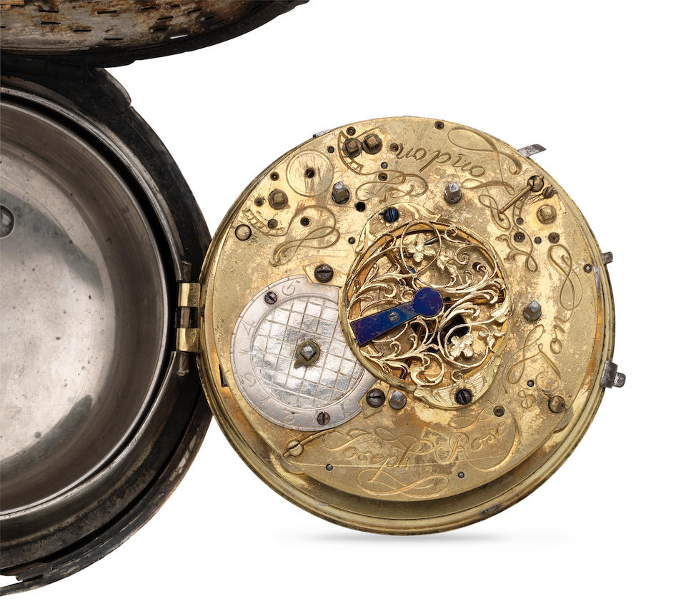 Joseph Rose & son, London. A large plated brass pair case clock coach watch with alarm (AF) Circa 1710