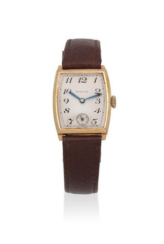 Rolex. A 9K gold manual wind tonneau form wristwatch Ref: 2006, Glasgow Import mark for 1937