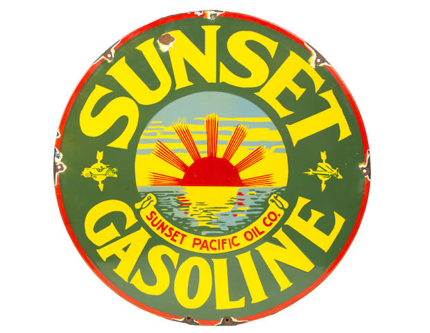 A rare 'Sunset Gasoline' enamel sign for the Sunset Pacific Oil Company, California, 1928-1934,
