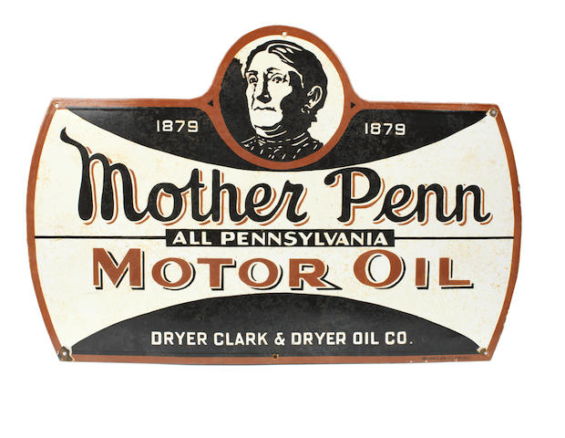 A scarce 'Mother Penn All Pennsylvania Motor Oil' enamel sign, 1930s,