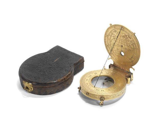 A rare gilt brass astronomical compendium,  probably German,  circa 1597,