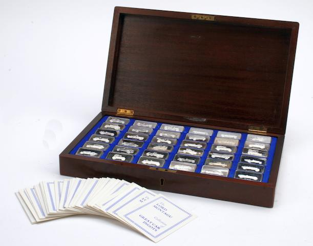 A cased set of 36 sterling silver commemorative motoring ingots by John Pinches, 1970s,  ((Qty))