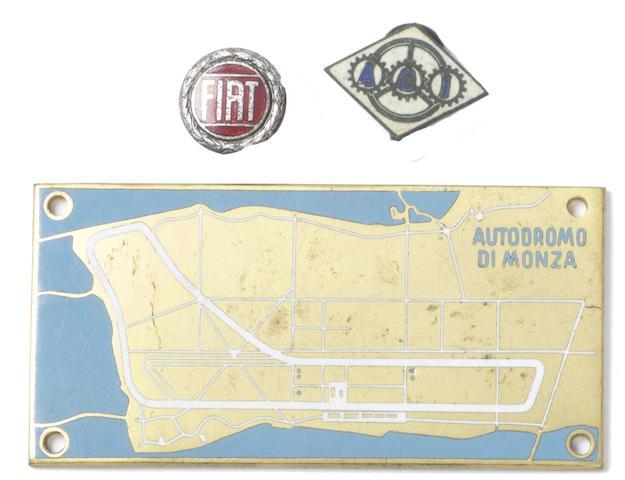 An enamelled Autodromo di Monza plaque, 1955,