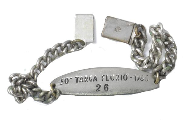A driver's identity bracelet from 50th Targa Florio, 1966,