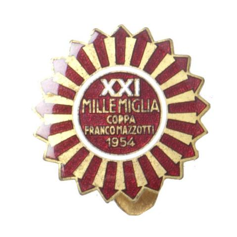 A 1954 Mille Miglia enamel lapel badge,